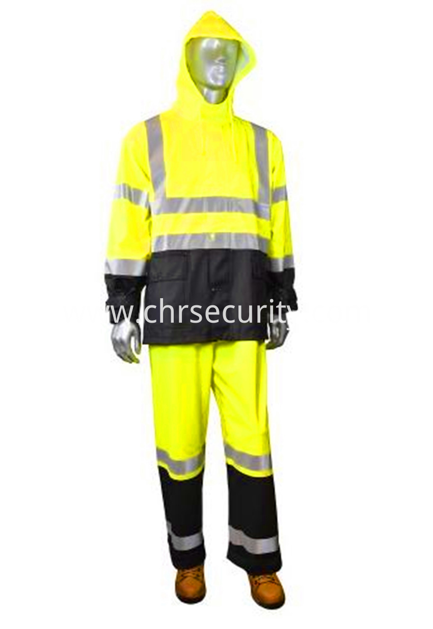 Double color reflective safety raincoat