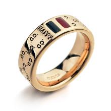 Os homens felizes do anel do ouro 18k do ouro da venda da parte superior da qualidade superior anelam o anel do tat do ouro do ferro dos coordenadores