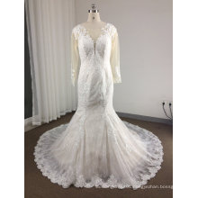 Mermaid Round Neck Ivory Wedding Dress