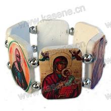 Белый пластиковый браслет с розами с изображением святых фотографий