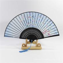 ventilador de mão de bambu manual personalizado personalizado dobrável