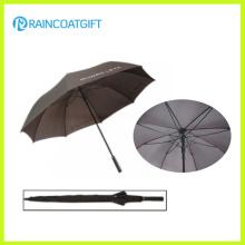 Paraguas promocional de alta calidad del golf de la fibra de vidrio de Pongee de 2016 barras sólidas