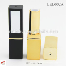 LED002A Square gold LED light lipstick tube with mirror