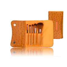 Portable Synthetic Hair Cosmetic Brush Kit Makeup Brush Set with Ostrich Pattern