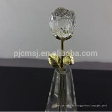 Meilleure vente durable en utilisant la décoration cristal rose fleur
