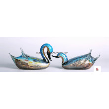 A Pair Of Blue Swan Glass Sculptures