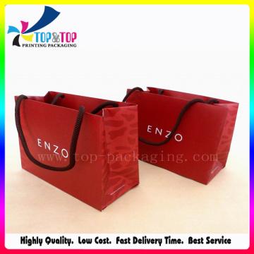 190g Pequeños bolsos de compras de papel recubiertos del tamaño para la venta al por mayor