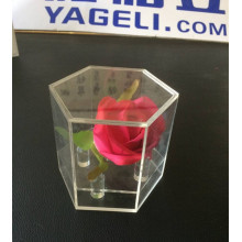Hot Sale Crystal Hexagonal Acrylic Flower Box for Gift