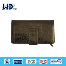 Portefeuille personnalisé en cuir de vache en crocodile noir