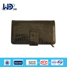 Черный крокодил текстуры коровы кожаный пользовательский кошелек