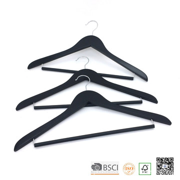 Black Big Space Rolling Bar Wooden Garment Display Hanger