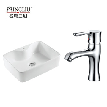 High quality Rectangular shinny White color design  wholesale porcelain art basin with tap