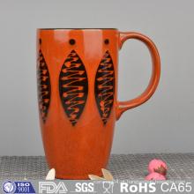 Caneca de cerâmica de impressão de seda com pintura de mão