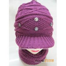 Conjunto de bufanda y sombrero de punto de mujer