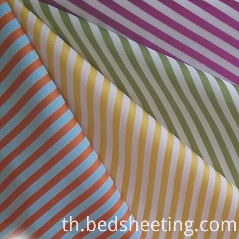 Colored Yarn Dyed Cotton Sateen Stripe Fabric