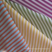 Tissu à rayures en satin de coton teint en fil