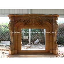 High Quality Marble Fireplace with Flowers (SY-MF212)