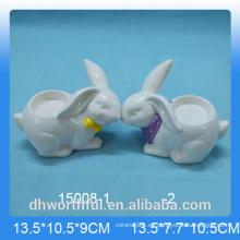 Cute conejo diseñado portador de velas de cerámica
