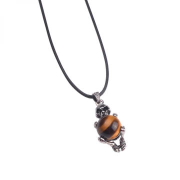 Stainless Steel Skull Pendant Tiger Eye Beads
