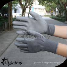 SRSAFETY высококачественные защитные перчатки / 13 г серый полиэстер с пальмовым покрытием PU мужская рабочая перчатка