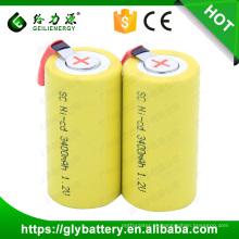 Atacado sc 1,2 v 1200 mah SC bateria flat top com abas