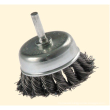 Knotted Cup Wire Brush with Shaft