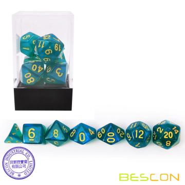 Bescon Moonstone Würfel Set Peacock Blue, Bescon Polyhedral RPG Würfel Set Moonstone Effect