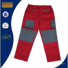 Rouge gris 300 GSM coton Drill travaux lourds Pant Durable hommes pantalons Cargo travail