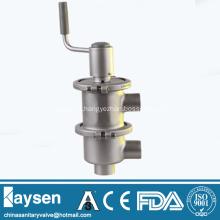 Sanitary manual LL line type flow diversion valve