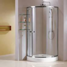 Cerco simples do chuveiro do quadrante de alumínio do quadro com prateleira de vidro (HR269A)