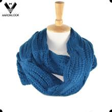 Твердый цвет Уютный акриловый жаккардовый кабель Pattern Шея шарф