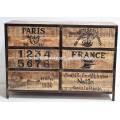 industrial wooden drawer cabinet with French Painting