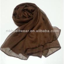 Пользовательские Дешевые сплошной цвет равнина площади шелка шифон шарф