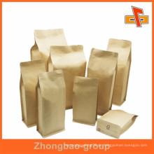 Biogradable Food Grade Plain quadratischen unteren Papiertüte für Verpackung mit Reißverschluss