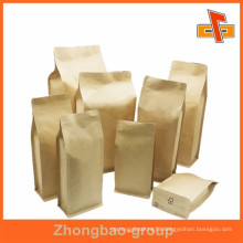 Biogradable food grade plain square bottom paper bag for packing with zipper