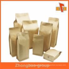 Biogradable grau alimentício liso quadrado fundo saco de papel para embalagem com zíper