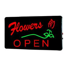 Открыт цветок с надписью LED