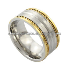 factory manufacture ring, gold plating high polished stainless steel ring with couple gold steel wire, men ring