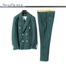 Полосатые двубортные классические мужские костюмы с брюками