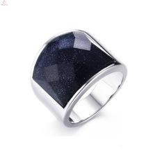 Últimos anillos de compromiso de diamantes negros grandes de acero inoxidable