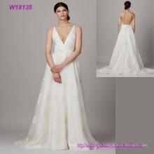 Venta caliente Formal Nupcial V-cuello transparente Volver vestido de novia al por mayor