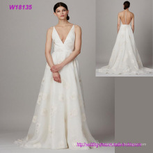 Hot Sell Formal Bridal V-Neck Transparent Back Wedding Dress Wholesale