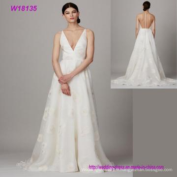 Vente chaude formelle mariée v-cou transparent dos robe de mariée en gros