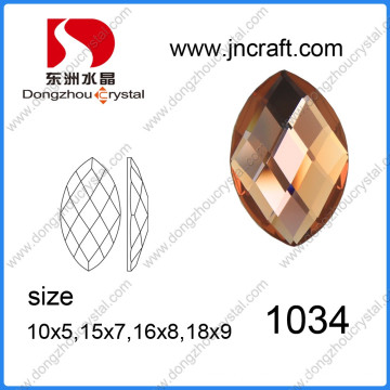 Navette Shape Glass Bead with Foiled Back (DZ-1034)