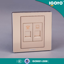 Igoto British Standard Brushed Aluminum Rj11+RJ45 Wall Socket Outlet