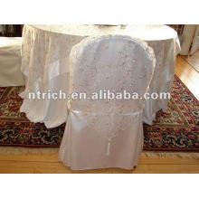 Capa de cetim cadeira estilo novo casamento com o decotation do jacquard
