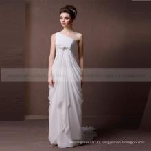 Simple une épaule plissé en mousseline de soie robe de mariée perlée ceinture