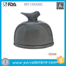Vogel auf Deckel Schwarz Küche Keramik Butterdose