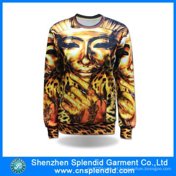 2016 Personalizado de Alta Qualidade Moda Sublimação Mulheres Camisolas