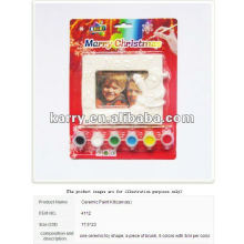 MERRY CHRISTMAS DIY PHOTO FRAME CERAMIC PAINT SET 6 COLORS 3ML EACH POT WTH A BRUSH